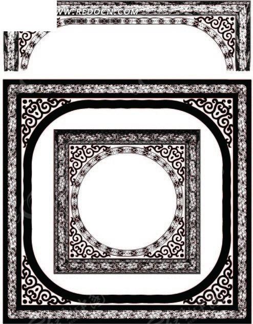 卷曲纹 几何形 精美 古典 边框  装饰 黑白 花纹 花纹素材 花边 花边