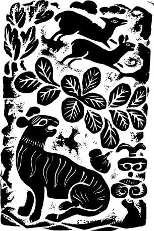 中国古典图案-叶子和动物构成的图案