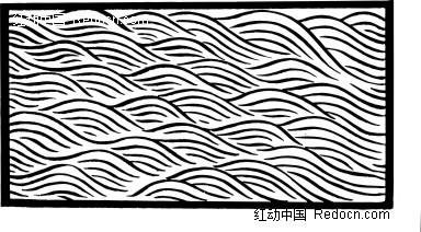 中国 传统 波浪纹 方形 手绘 线描 花纹 花纹素材 花边 花边素材