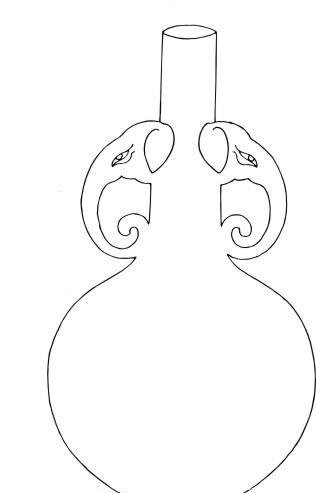 手绘象鼻双耳水瓶