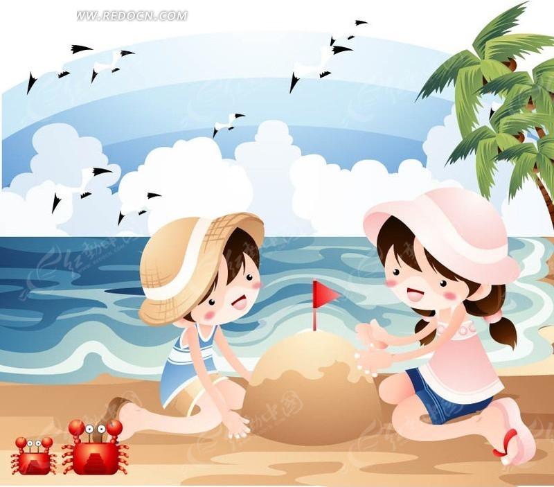 沙滩上堆沙堡的男孩女孩矢量图ai免费下载