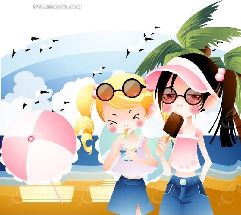 冷快 冰棒 夏天 沙滩 太阳伞 卡通 小女孩 儿童 卡通人物 插画 绘画