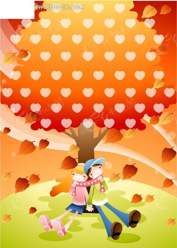 坐在树下的年轻情侣