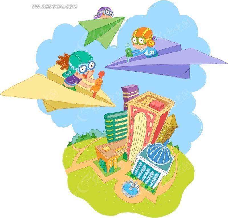 楼房上空驾着纸飞机的三个小朋友矢量图