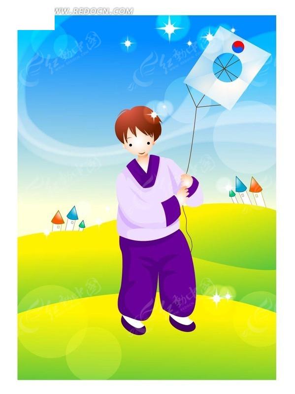 正在放风筝的男孩矢量图 卡通形象图片