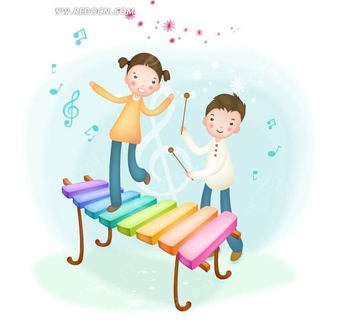 敲击 音符 跳舞 音乐  男孩 女孩 手绘 卡通人物 卡通人物图片 漫画