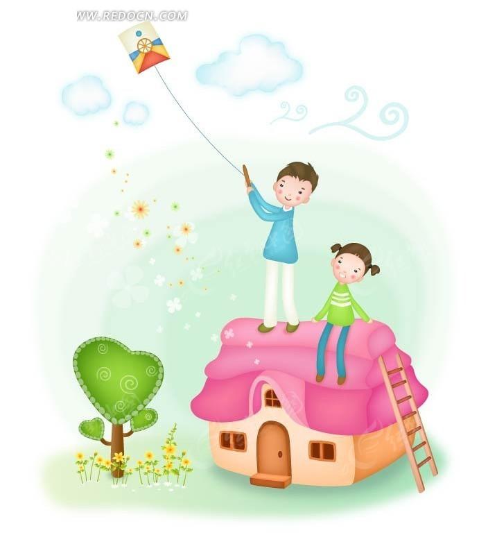 在屋顶上放风筝的男孩女孩 卡通人物矢量图下载 1408091图片