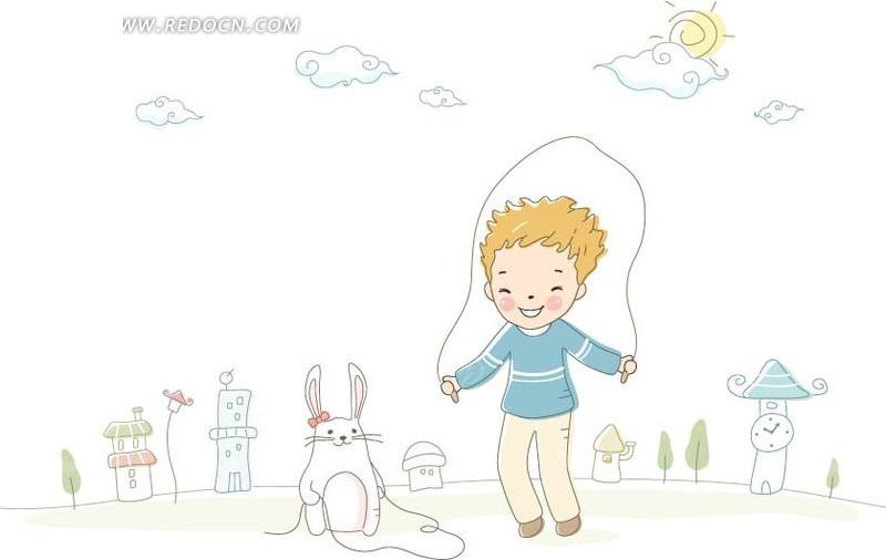 放风筝-和龙猫一起跳绳的男孩AI素材免费下载 编号1408069 红动网图片