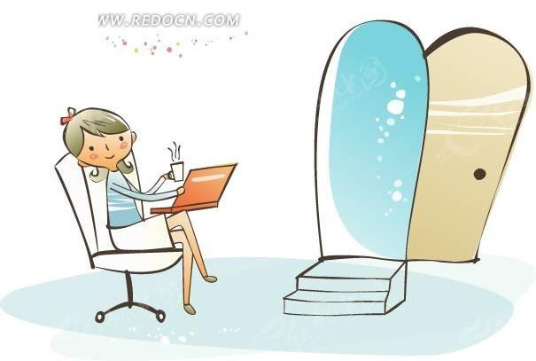 女孩 坐着 椅子 打开的门 手绘 卡通 可爱 清新  卡通人物 卡通人物