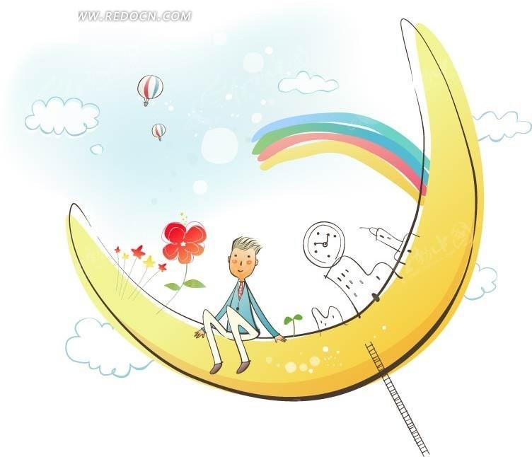 月亮上的男孩创意插画设计