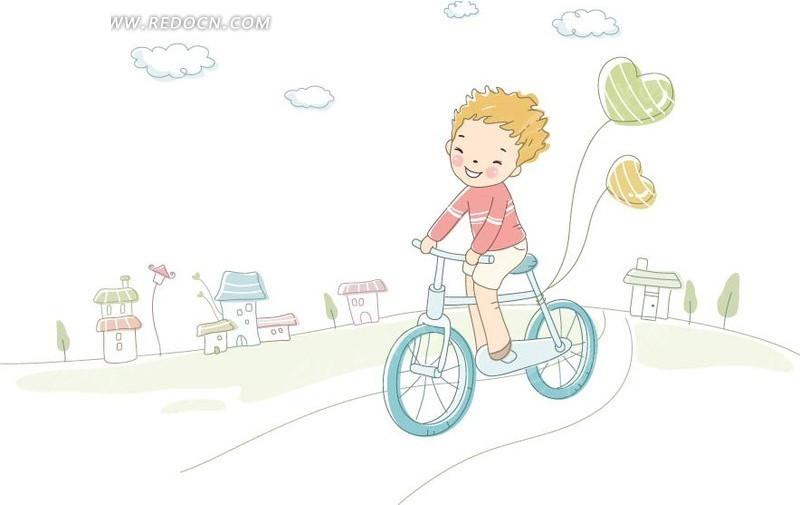 骑自行车的女孩创意插画设计
