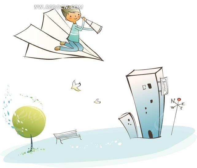 在纸飞机上拿望远镜的男孩插画创意设计矢量图