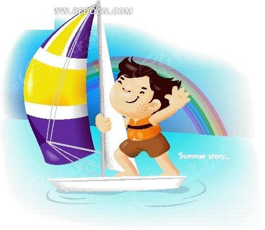 水上运动 滑浪风帆  男孩 彩虹 手绘 卡通人物 卡通人物图片 漫画人物