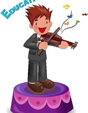 站在表演台上拉小提琴的男孩