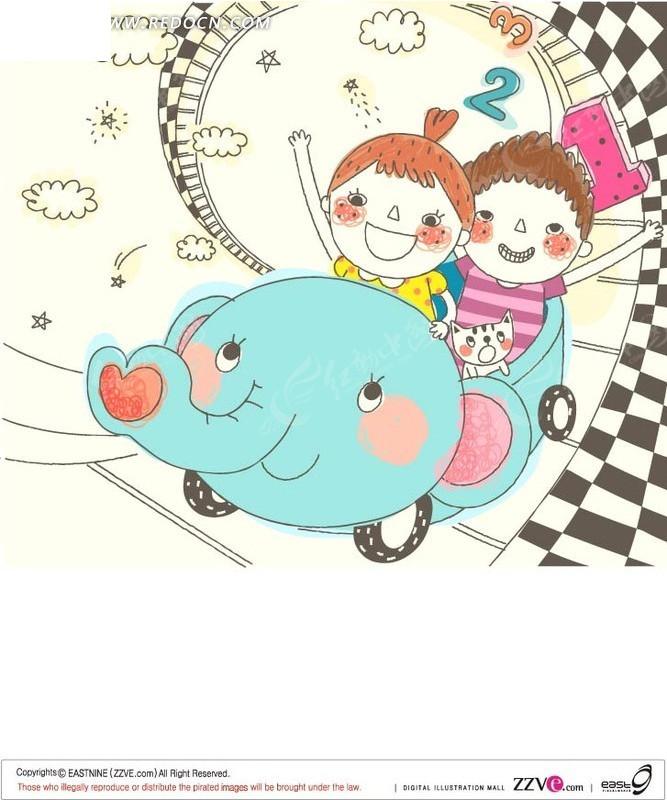 坐在大象汽车上开心的小朋友