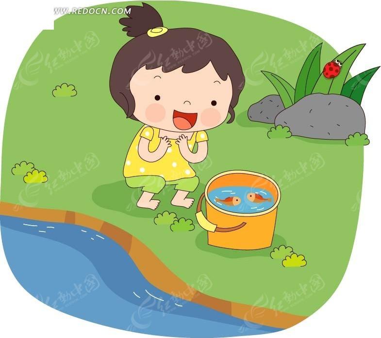 河边 草地 望着铁桶 小鱼 小女孩 手绘 卡通人物 卡通人物图片 漫画