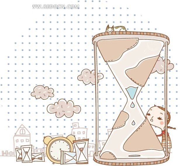 关爱女孩计生卡通漫画 手绘女孩子本本封面 仰望天空的孤独女孩和猫