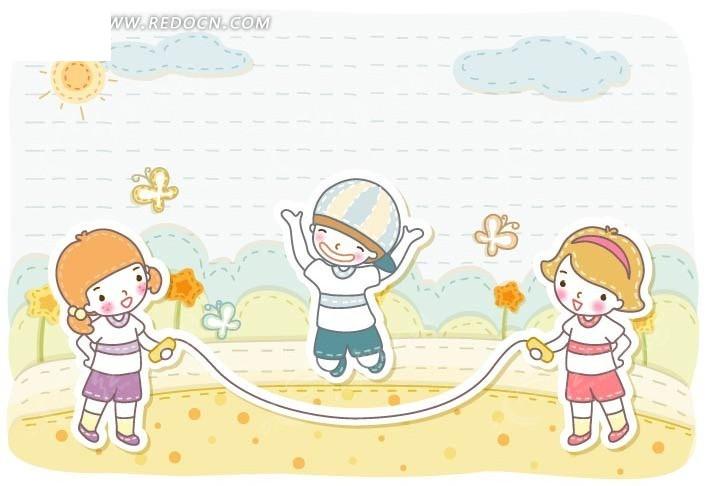 小朋友跳绳简笔画