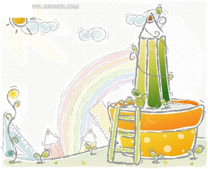 铅笔手绘云朵马桶贴