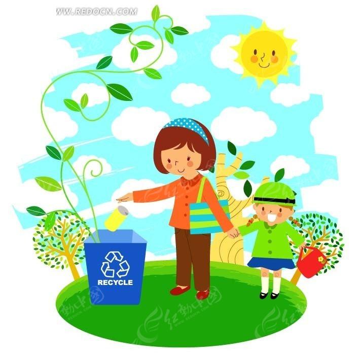 小女孩 妈妈 垃圾桶 环保 漫画 卡通人物  矢量素材 卡通 手绘  卡通