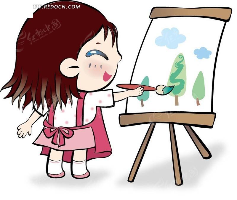 免费素材 矢量素材 矢量人物 卡通形象 开心画画的小女孩  请您分享
