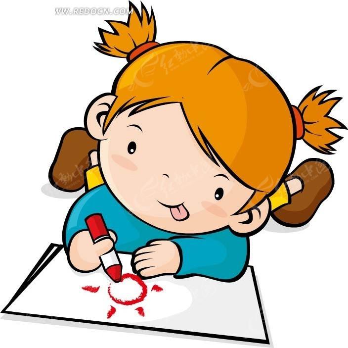 用红色蜡笔 画画 的小女孩矢量图 卡通 形象