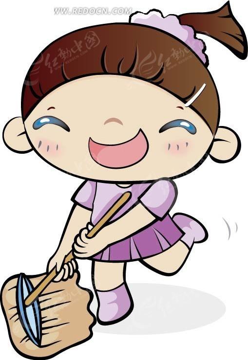 手绘漫画小女孩