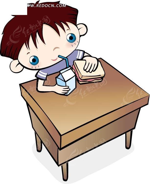 桌子上喝牛奶的卡通男孩