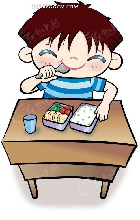 在桌子上吃饭的卡通男孩