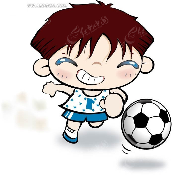踢足球的卡通男孩 卡通人物矢量图下载 1412925
