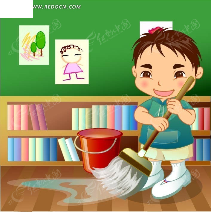 在书房拖地的卡通男孩