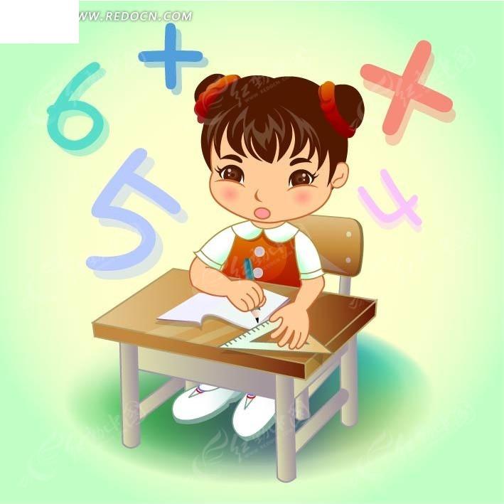 在书桌旁学习数学的卡通女孩