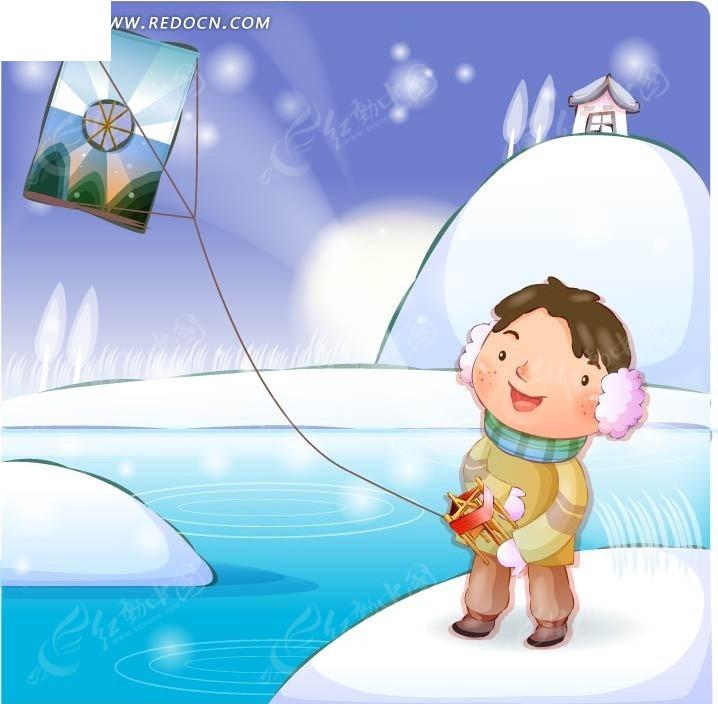 冬天在雪地里放风筝的卡通男孩EPS素材免费下载 编号1413563 红动网图片