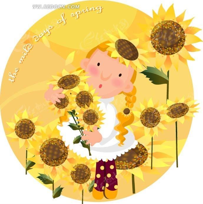 抱着一束向日葵的小女生矢量图_卡通形象