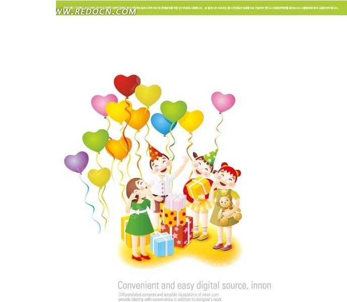 卡通小人放飞心形气球