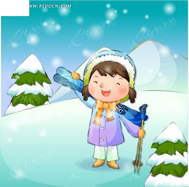 雪地 拿着滑雪板 女孩 手绘  卡通人物 卡通人物图片 漫画人物 人物