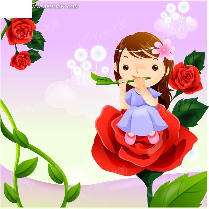 坐在玫瑰花上吹着由树枝制作而成的笛子的小女孩图片