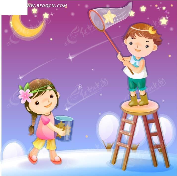 捕捉星星的小男孩与拿着小桶的小女孩