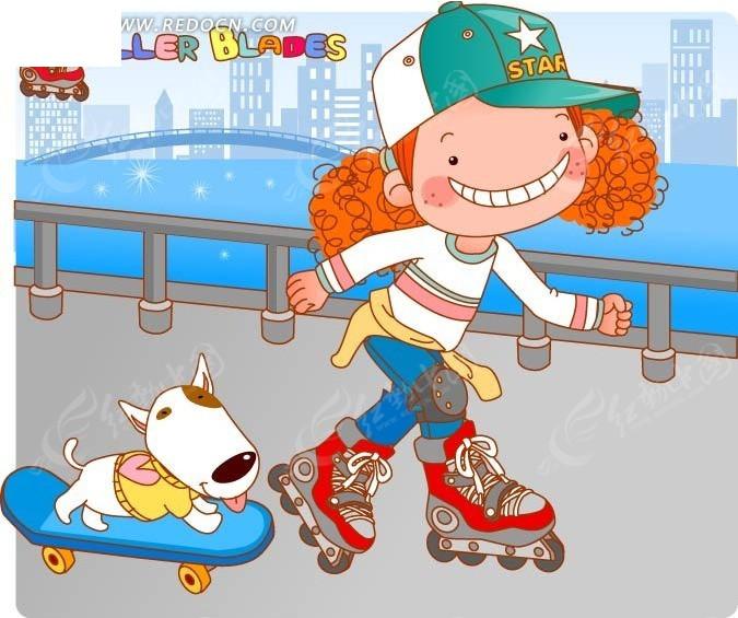 免费素材 矢量素材 矢量人物 卡通形象 踏在滑板上的小狗和穿着溜冰鞋