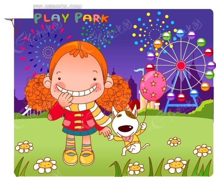 手绘牵着小狗在游乐园的女孩