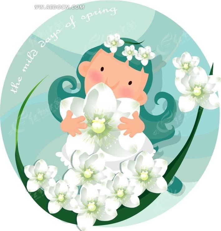 手绘拥抱鲜花的女孩
