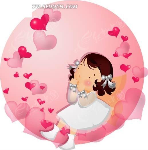 穿着白色裙子的卡通小女孩与粉红色的爱心