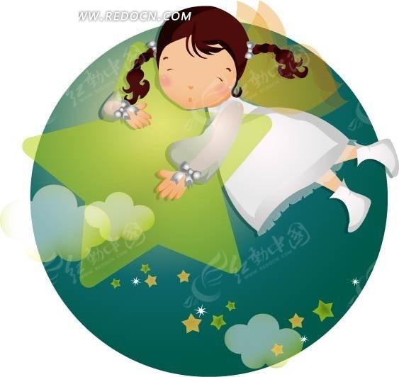 泡着星星睡觉的女孩矢量图