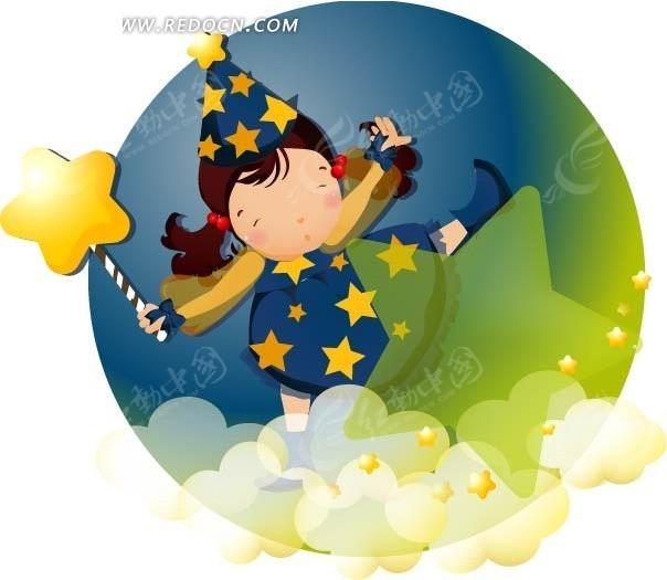 站在云朵上拿着星星魔法棒的小魔女图片