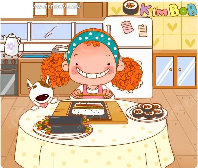 卡通做寿司卷的小女孩