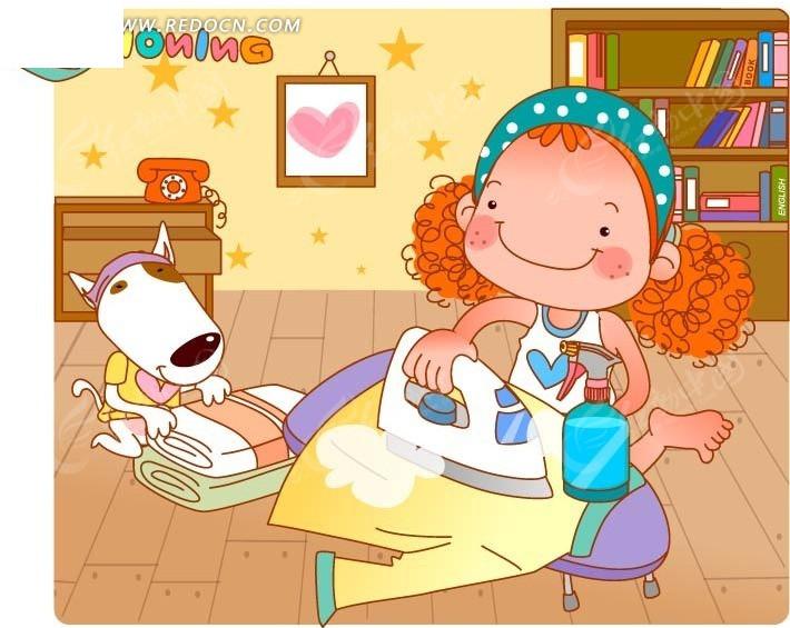 折衣服的小狗和烫衣服的女孩卡通画