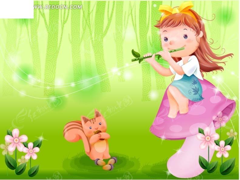 吹着笛子的小女孩和可爱的松鼠eps免费下载_卡通形象