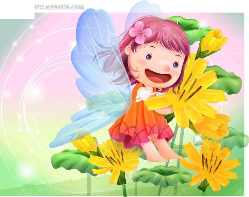 摘花的可爱小精灵