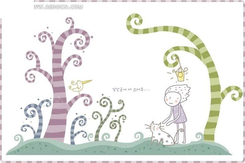 站在草地上的卡通小男孩和可爱小猫咪图片