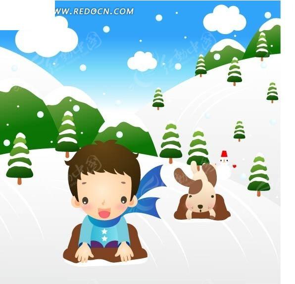 雪地表白图片手绘图片